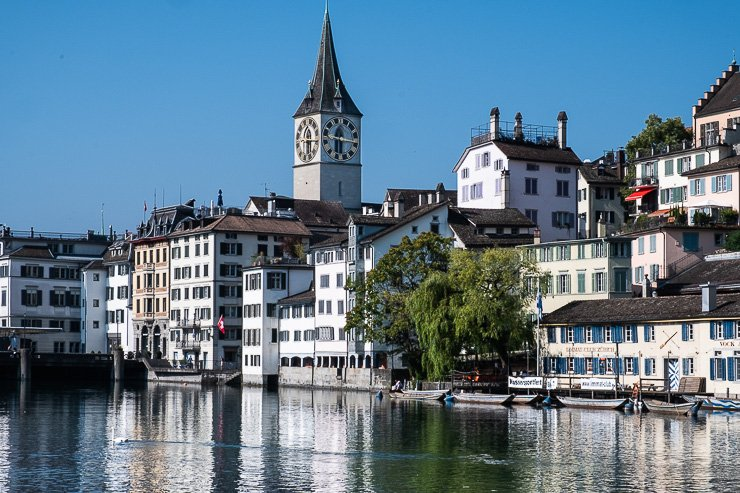 View over river Limmat towards Fraumünster, one of Zurich's four main churches.