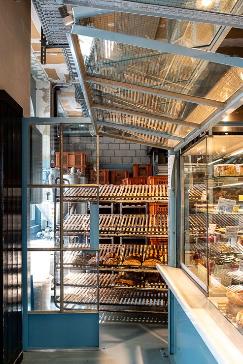 Wooden racks for bread at John Baker, Helvetziaplatz, Zurich