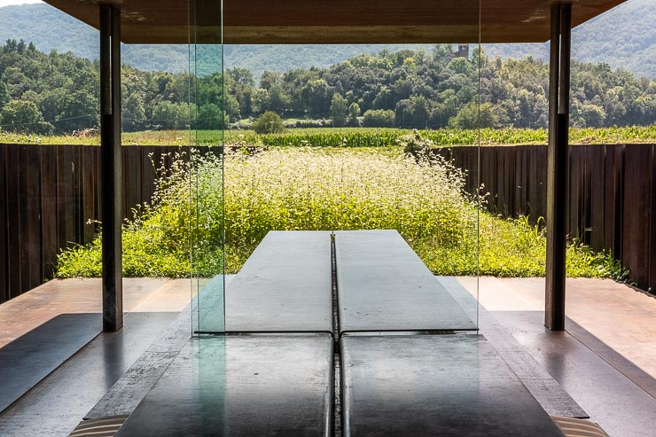 Modern architecture with glass walls, flowering field and view across countryside.