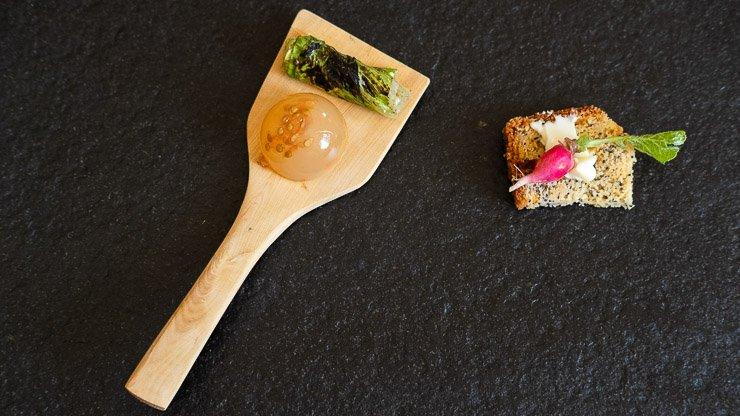 Apricot & radish canapé, aperitif, Les Cols, Catalonia