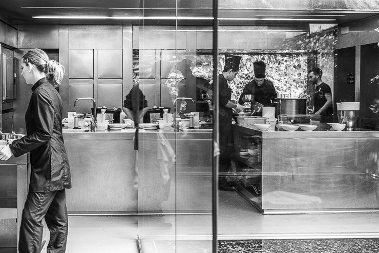 Black and white view of the kitchen, Les Cols, Catalonia