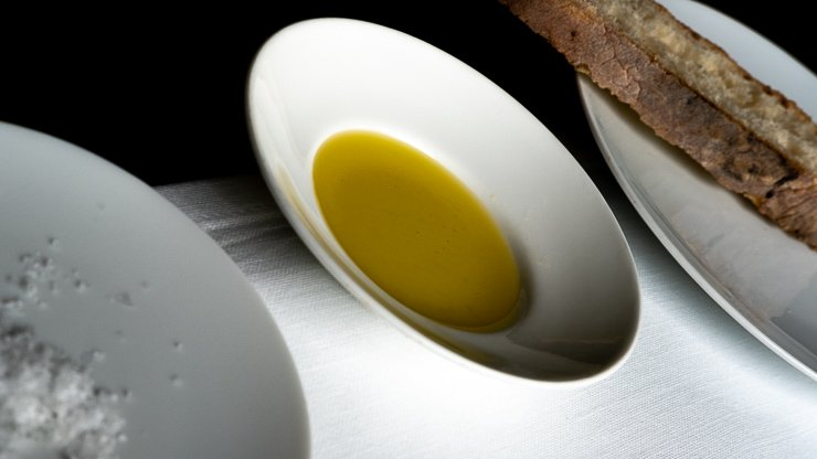 Dishes of olive oil, salt & bread, Les Cols, Catalonia