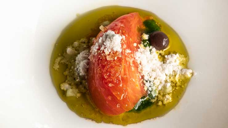 Tomato with sheep's cheese, Les Cols, Catalonia
