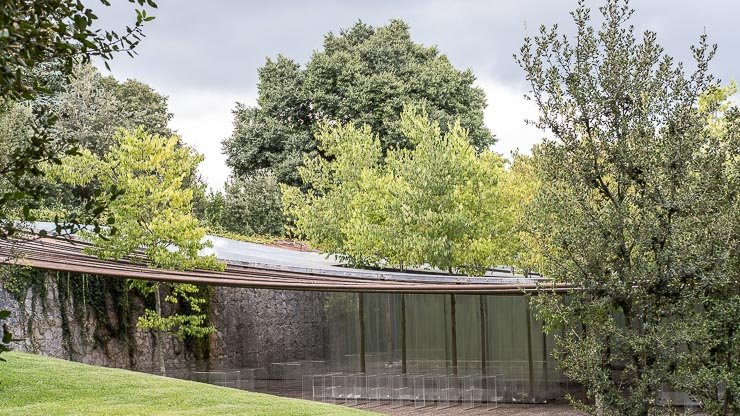 The exterior of the marquee at Les Cols Restaurant, designed by RCR Arquitectes
