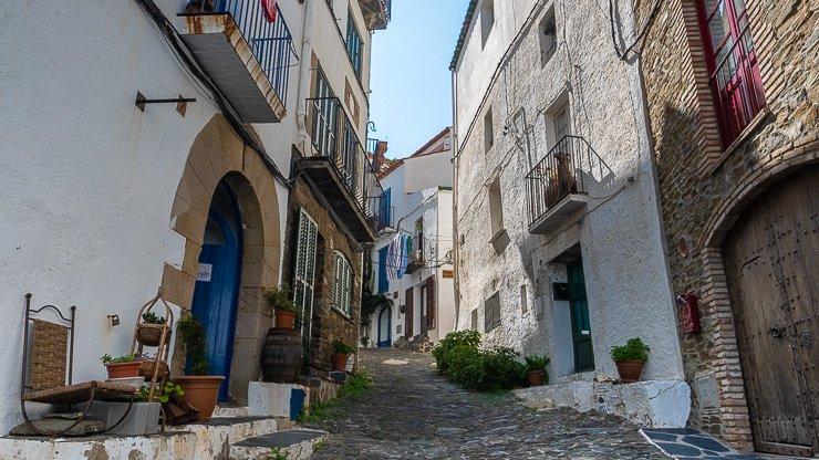 View up narrow street, Cadaques, Catalonia