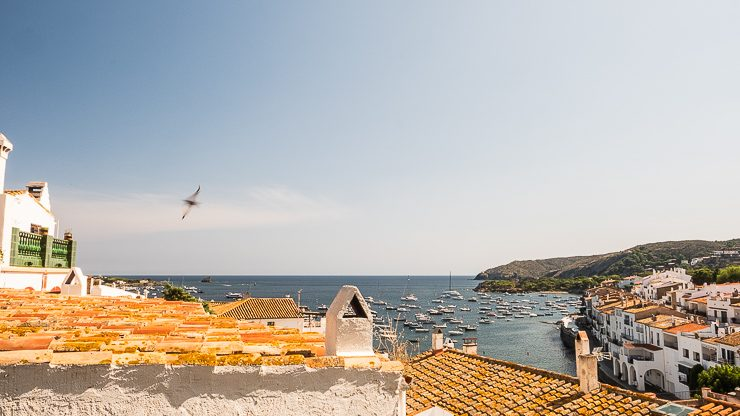 Rooftop view with sea and boats, Cadaques, Catalonia