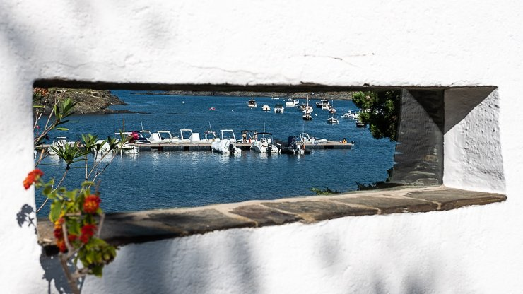 View through wall from garden of Dali's house in Port Lligat
