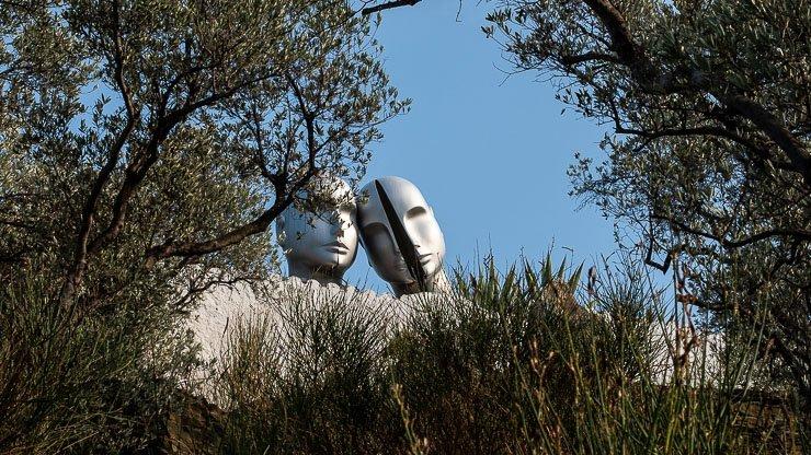 Sculptures of two heads, Dali garden, Port Lligat