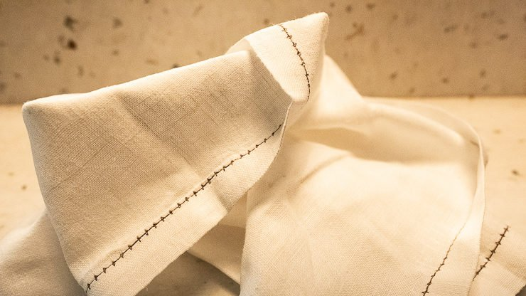 Folded linen napkin, Lyan Cub, Hoxton, London