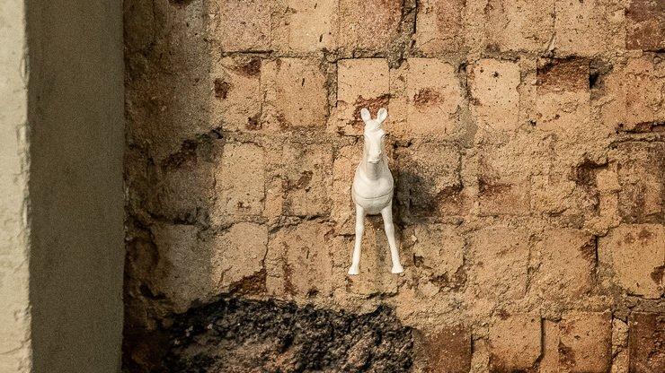 Horse bag hook on brick wall, Lyan Cub, Hoxton, London