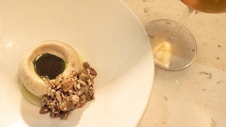 Dessert with seeds and glass, Rare Tea, Lyan Cub, Hoxton, London