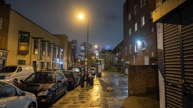 Hoxton Street at night looking towards City of London