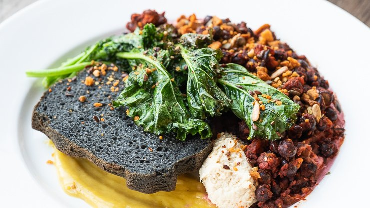 Protein Bowl, Plant Hub & Academy, London, kale and charcoal focaccio