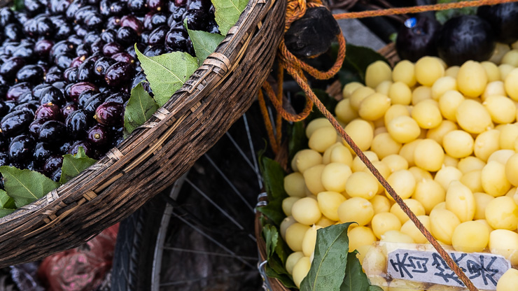 Fruit in baskets on a bicycle