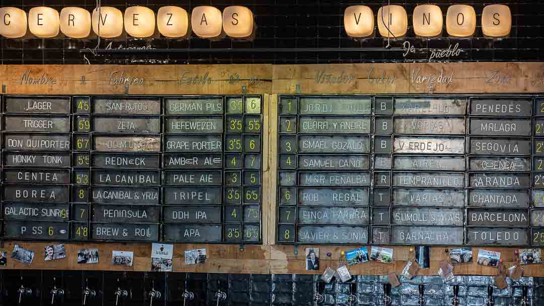 Lists of beer and wine, La Canibal, Madrid