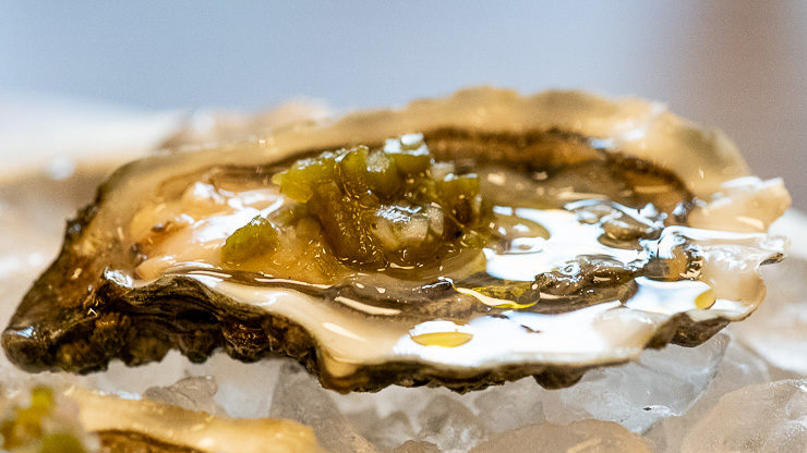 Single oyster, jalapeño mignonette