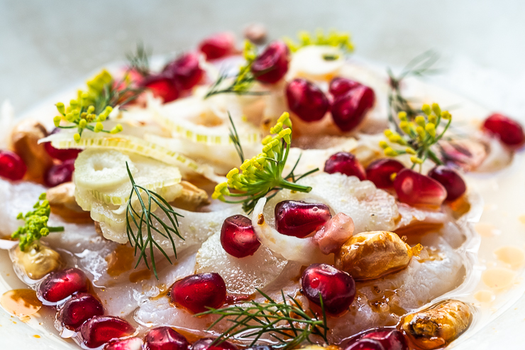 Fish, fennel, pomegranate, Clamato