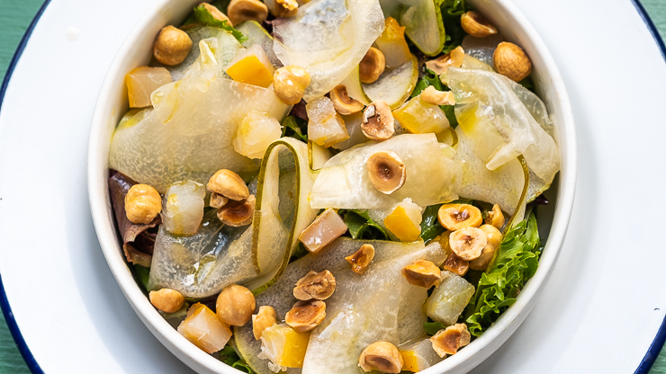 Mesclun, pear, haddock, hazlenut, Clamato, Paris