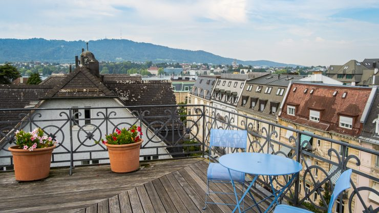 Rooftop view across to Lake Zurich and hills