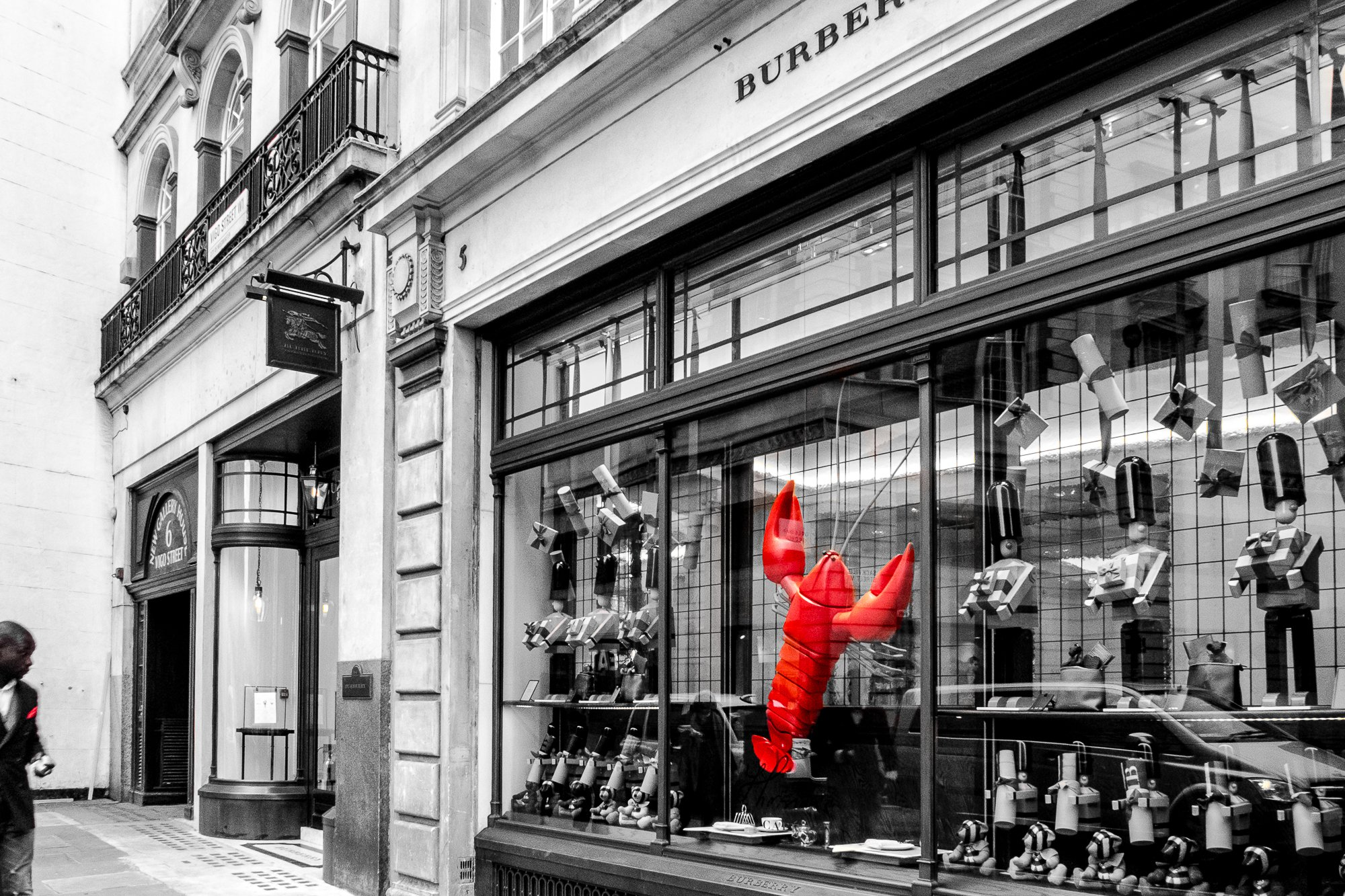 Shop front in black & white with red lobster