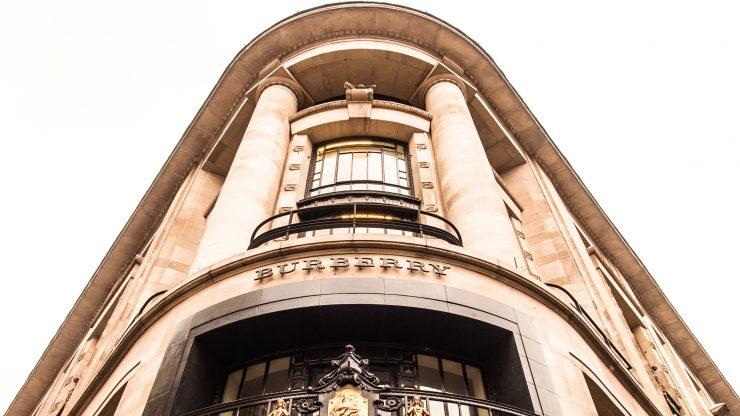 Building facade with Burberry logo